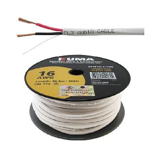 SPEAKER WIRE IN-WALL 16AWG 2C 100FT FT4 WHITE JACKET