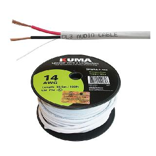 SPEAKER WIRE IN-WALL 14AWG 2C 100FT FT4 WHITE JACKET