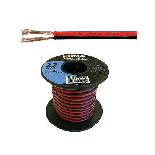 DC WIRE 22AWG RED/BLK PAIR 25FT 