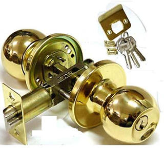 ENTRANCE LOCK W/BUTTON GOLD PLAT PLATED
