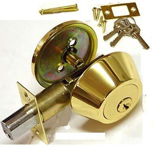 DEADBOLT LOCK GOLD PLATED 3 KEYS 