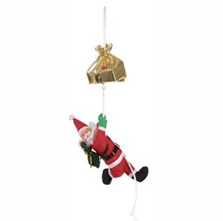 CLIMBING SANTA CLAUS MOVING ON A ROPE-CHRISTMAS