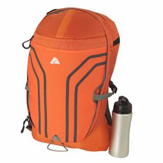 TRAVEL BACKPACK 12X9X19.25IN 24L ORANGE W/WATER BOTTLE