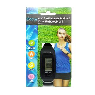PEDOMETER WRISTBAND 4 IN 1 ASSORTED COLORS